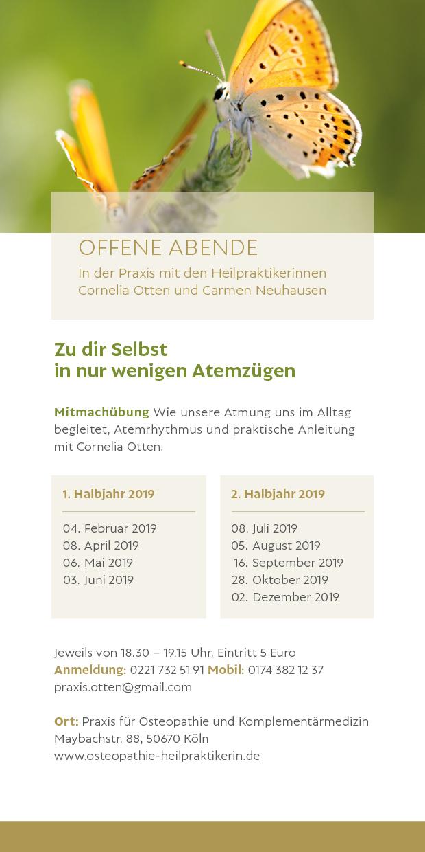 Zu dir Selbst in nur wenigen Atemzügen: Mitmachübung mit Cornelia Otten @ Praxis für Osteopathie und Komplementärmedizin | Köln | Nordrhein-Westfalen | Deutschland